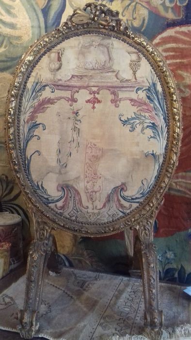 A Louis XVI style carved and gilt wood paravent - with French tapestry panel - France - 19th century