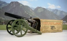 Pascha, Germany - Length 14 cm - Tin 'child cannon' with straight bracket - handheld / cardboard packaging 'child cannon' with curved support - 1930s