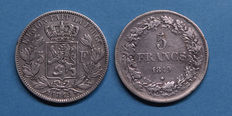 Belgium - 5 Francs 1849 Leopold laurelled and bare head (2 different coins) - silver