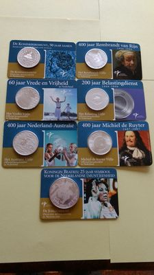 The Netherlands - 5 and 10 euro 2004/2007 (seven different ones) - silver in Coin cards + six booklets