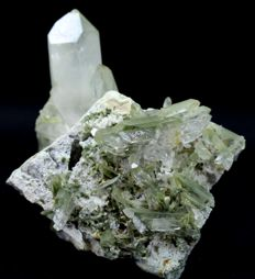 Unusual Chlorite included Quartz Crystal Cluster on Matrix - 116 x 102 x 65 mm - 377gm