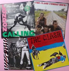 Set of 3 albums by The Clash; London Calling (2), Combat Rock, Give 'Em Enough Rope plus debut album by Big Audio Dynamite