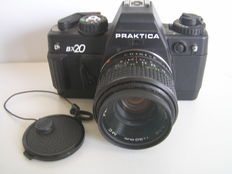 Praktica BX20 SLR camera with 3 lenses.