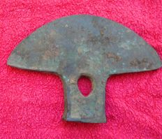 Bronze axe 9th century A.C.  It measures 140 x 105 x 25 mm Peru