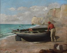 Ellen Conolly. (Act. 1873-1885) - Clearing out the old boat.