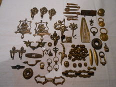 Lot of antique furniture fittings and hooks - France/Belgium - 1920 and later