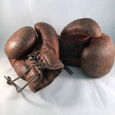 Boxing - Leather boxing gloves - last century.