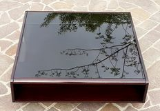 Rectangular living room coffee table with smoked glass, approximately 1960s, Italy