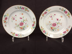Two porcelain famille rose plates - China - 18th century