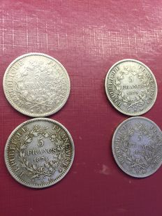 France – 5 Francs 'Hercule' 1873/1874 (lot of 4 coins) – Silver