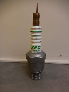 Vintage Original Bosch Germany Plastic Advertising Large Version Spark Plug and Original New Old Stock Bosch Spark Plug