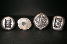 4 Ancient Qing Dynasty Silver Bars - Emperor Tongzhi - 1865 - 1875