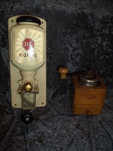 Old D.E. Douwe Egberts wall coffee grinder + old table coffee grinder