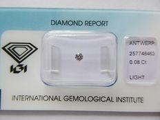 Natural Fancy  LIght Purplish Pink  Brilliant cut diamond 0.08ct with I.G.I certificate***No minimum price***