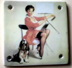 Ceramics; Set with 4 Erotic pin-up tiles-late 20th century