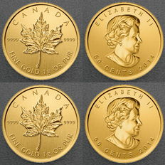 Canada - Royal Canadian Mint 2 pieces 999 gold coins Maple Leaf 2016 - maple gram - in blister with certificate