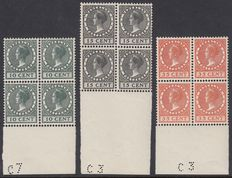The Netherlands 1924 - Exhibition stamps - NVPH 136/138 in block of four, with inspection certificate