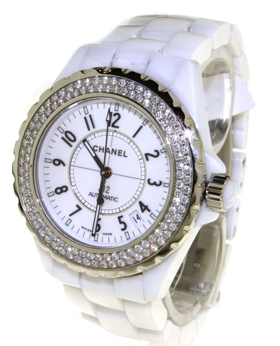 Chanel J12 White Ceramic - Set with Diamonds - Wristwatch