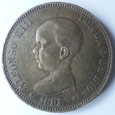 Spain – Lot of 2 coins – Alfonso XIII – 5 Peseta – 1891/1892 PG.M