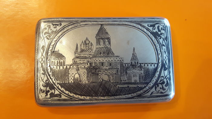 Imperial Russia, Beautiful niello silver male cigarette case, Moscow, XIX century