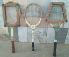 Vintage Lot of 3 Wooden Tennis Rackets + 2 Wood press _ from the years 60/70's
