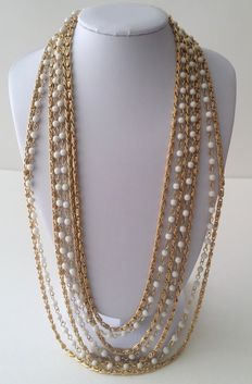 Vintage Gold Tone Multi Strand Necklace Signed D'Orlan (Marcel Boucher)