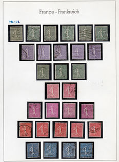 1900-1921 France - large collection on 13 pages, Leuchtrum of 351 stamps with very good values