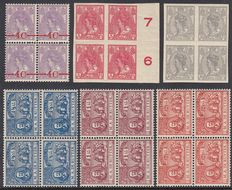 The Netherlands 1908/1923 – Queen Wilhelmina and De Ruyter – NVPH 82/83, 87/89 and 106 in blocks of four