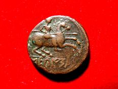 Ancient Hispania - Secaisa (actual Segeda o Belmonte, Zaragoza,  Spain). bronze as (7,40 g. 22 mm.)  Celtiberian series with spear-horseman. Minted in the I century B.C.