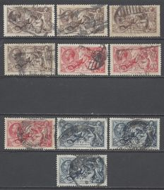 Great Britain 1918/1934  - Sea Horses  - Stanley Gibbons 414/415a,416,451 & 452