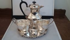 h. m. m. epns a1 tea set & tray barker ellis silver plated made in england.