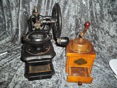 Beautiful old German Burg Mühle coffee grinder + very nice old cast iron coffee grinder