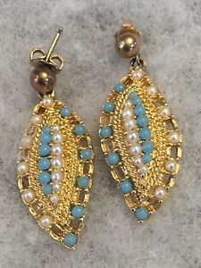 Vintage Sarah Coventry faux pearl and blue stone earrings New York 1955 - 1960