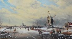 L. van Vugt (1952) - The face of winter, with skaters near a windmill.