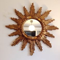 Unknown designer - Mirror on a gold-coloured sun-shaped frame
