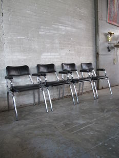 Producer unknown - set of four chrome tubular frame chairs