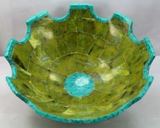 Large hand-crafted unique Lemon Green Jade bowl - 203 x 102mm - 823gm