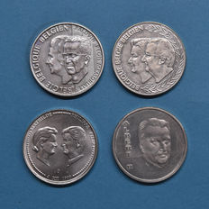 Belgium - 250 Francs 1994, 1998 and 1999 (4 different ones in total) - Silver