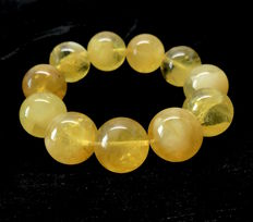Large Bracelet Baltic Amber beads ø19 mm in honey colour, weight 45 grams