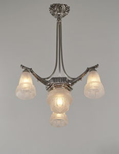 Muller Frères -  French Art Deco chandelier - nickeled solid brass and pressed glass