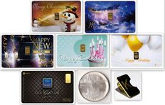 Lot of 6 GoldCards + 1 silver Sophia Jacoba medal + 1 bronze pin - 0.60 grams of 999.9 gold 6 28 grams of 800 silver - HAPPY CHRISTMAS - HAPPY NEW YEAR - HAPPY BIRTHDAY - GOLD CLUB -  LBMA Certificate  - Karatbars