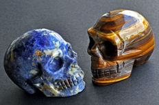 Tiger's Eye and Sodalite - finely detailed skulls - 7.8 x 6.2 x 4.8cm - and 401gm  - .,7 x 7.2 x 5.8cm and 431gm  (2)