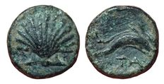 Greek Antiquity - Italy, Southern Apulia, Tarentum - AE (11mm; 1,19g.), c. 275-200 BC - Scallop shell / Two dolphins - HN Italy 1088
