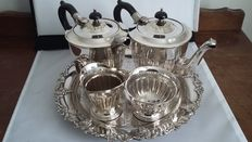 vintage yeoman silver plated bakelite 4pieces tea set & tray chased sheffield made in england.