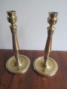 Two brass candlesticks empire period-France-first half of 19th century