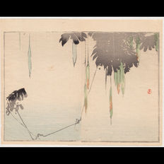 "Original Japanese Woodblock Print  ""Flowers above the Pond"" by Seitei Watanabe (1851-1918) - Japan -  1890"