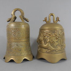 Two brass temple bells, China, 2nd half 20th century