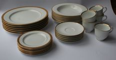 Nikko - Six dinner, soup and cake dishes & five cups and saucers, gold filigree