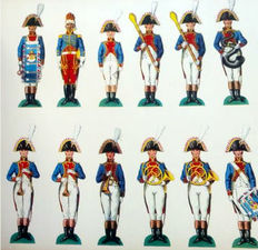 Napoleon; Figurines of the Grande Armée on cardboard cutting - around 1920