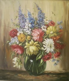 Unknown artist (20th century) - Still life, flower bouquet in a vase
